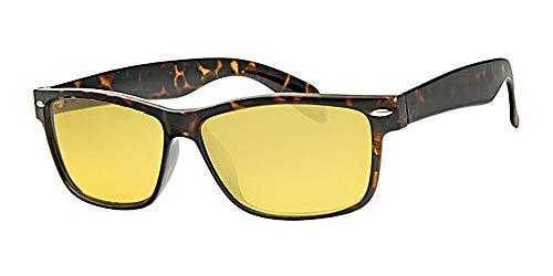 Eyewear World Nachtfahrbrille, gelbe Gläser, Rahmen Schildkrötenbraun, gratis Beutel mit Kordelzug und gelbem Halsband, Metallscharniere, UV-Schutz 400