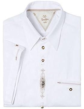 OS-Trachten Herren Trachtenhemd kurzarm weiß mit Applikationen Olaf 112156