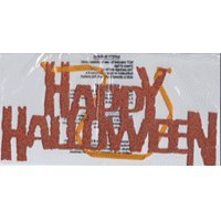 Deko-Schild Happy Halloween Partydeko mit Pailletten orange 31cm (Schild Halloween Happy)