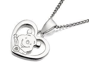 Disney Sterling Silver Winnie The Pooh Diamond Heart And Chain