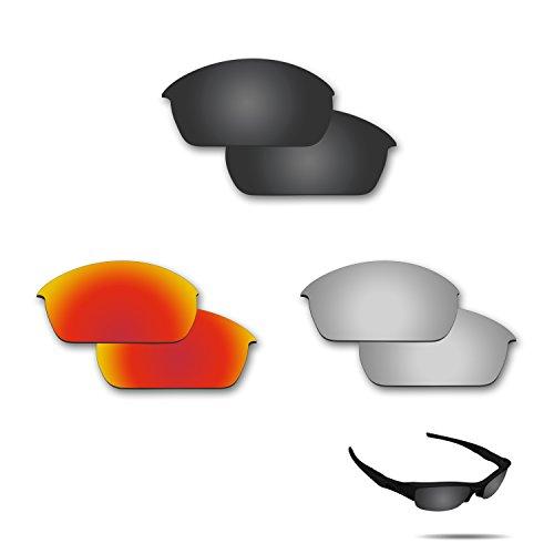 fiskr anti-saltwater Polarisierte Ersatz Gläser für Oakley Fuel Cell 3Paar Pack, Stealth Black & Metallic Silver & Fire Red (Oakley Fuel Ersatz Cell)