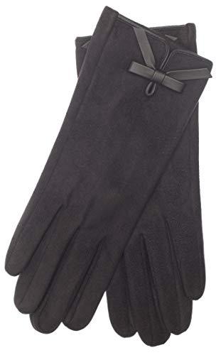 EEM Damen Kunstleder Handschuhe MALENA in Wildlederoptik mit weichem Teddyfleece, vegan, schwarz, one size