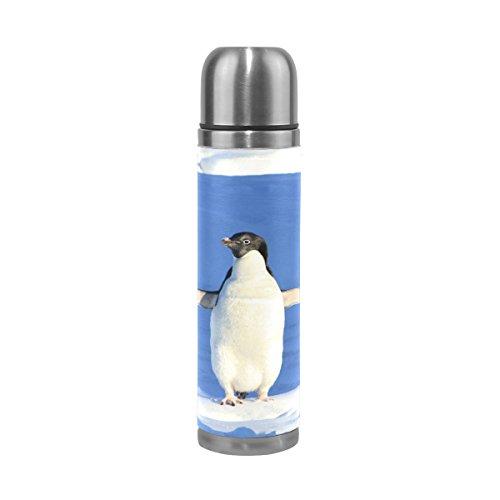 Isaoa Thermos Penguin Funny Bleu d'eau en acier Gourde thermos Thermos anti-fuites Isolation sous vide Bouteille thermos à double paroi pour café chaud ou froid à thé (500 ml 479,1 gram coloré)