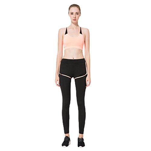 NiSeng Femmes 2 Pièces Sport Crop Top,Sports Legging,Gym Yoga Jogging Fitness Vêtements Ensemble Orange&Noir