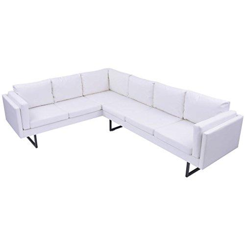 Festnight Canapé d'angle en Cuir Artificiel Canapé pour Salon Bureau Blanc
