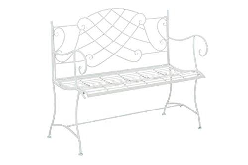 klassische Gartenbank Zweisitzer in Weiß Landhaus Stil Sitzbank für draußen Neu