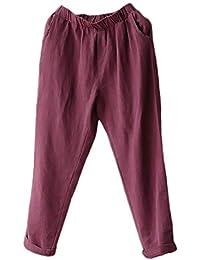 Pantalone Estivi Donna Eleganti Estivi Autunno Lunga Mode di marca Pantaloni  Donna Monocromo Pantalone 7  e03f10d77f96