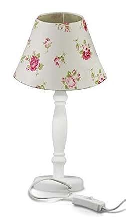 krollmann stoff tischleuchte mit schirm 40 watt 25 x 15 cm e14 wohnzimmer lampe mit. Black Bedroom Furniture Sets. Home Design Ideas