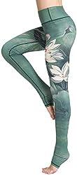 FLYCHEN Damen Hochwertige leggings Galaxy Yogahose Damen Sportleggings Sternenhimmel Jogginghose (143 grüner Lotus,M)
