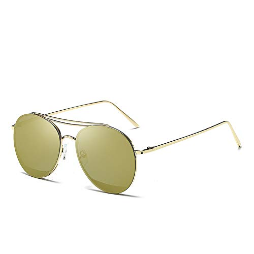 Easy Go Shopping Classic Aviator Mirrored Flat Lens Sonnenbrille Metallrahmen mit Federscharnieren Metallrahmen Sonnenbrille Sonnenbrillen und Flacher Spiegel (Color : Gold, Size : Kostenlos)