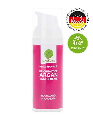 Bio Tagescreme Rose für Damen - Feuchtigkeitscreme mit Arganöl für Gesicht, Hals & Dekollete...
