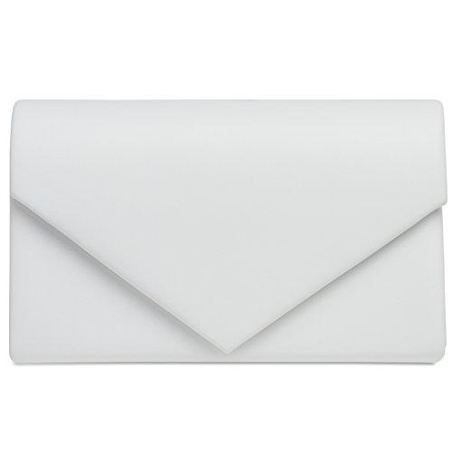 CASPAR TA362 elegante Damen Envelope Clutch Tasche / Abendtasche mit langer Kette, Farbe:weiss;Größe:One Size