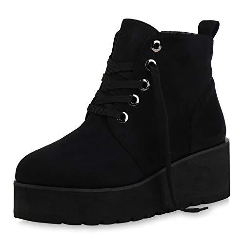 SCARPE VITA Crazy Damen Stiefeletten Plateau Boots Profilsohle Schuhe 144458 Schwarz 39
