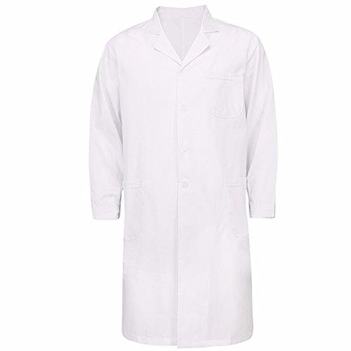 Medizin Mann Kostüm - FEESHOW Unisex Arztkittel weiß Baumwolle Laborkittel Medizin Kittel Berufsmantel mit Knöpfe Cosplay Kostüm für Damen & Herren Für Männer XL
