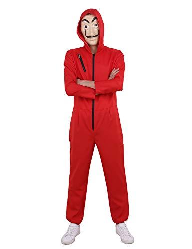 (dPois Unisex Damen&Herren Jumpsuit Overall + Maske Haus des Geldes Bankräuber Kostüm Set Kostüm Für Halloween Weihnachten Cosplay Maskenkostüm S-XL Rot X-Large)
