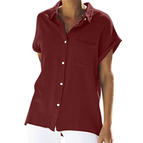 Zegeey Damen T-Shirt Oberteile Einfarbig Kurzarm Mit Tasche LäSsige Lose Blusen Tops Shirts Pullover Hemd(Wein,EU-44/CN-2XL)