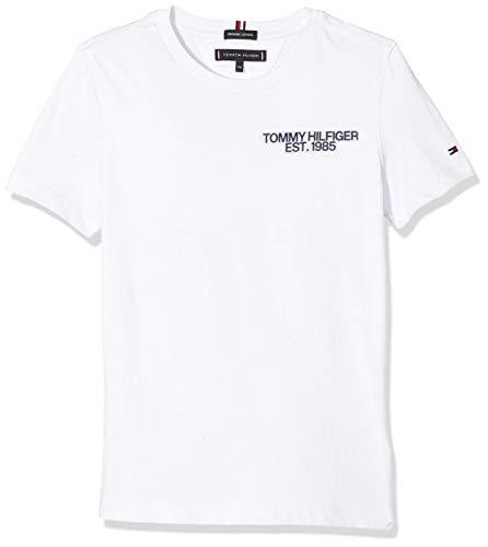Tommy Hilfiger Jungen Essential Class. Graphic Tee S/S T-Shirt, Weiß (Bright White 123), 176 (Herstellergröße: 16) -