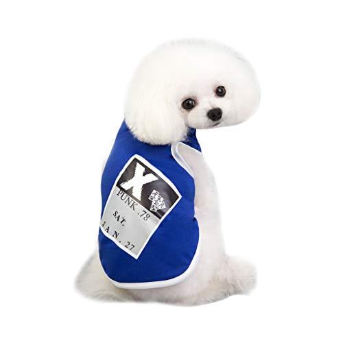 Hunde Kostüm Football - Pet Tee Welpen T-Shirt Sleeveless Sommer Drucken Muster Westeeinfarbig, weich, bequem,Teddy Hundebekleidung für Kleine,Mittlere Hunde Sommer Mantel Welpen Kostüme Outfit (XL, Blau)