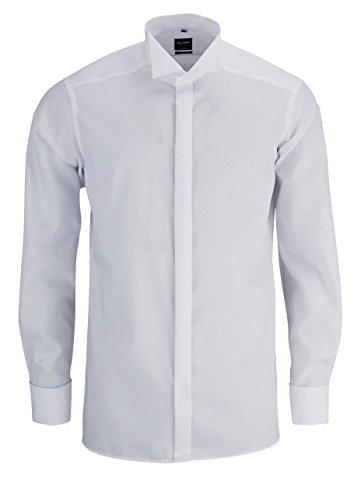 OLYMP Modern Fit Gala Hemd Langarm Popeline weiß ohne Manschettenknopf 01 wei
