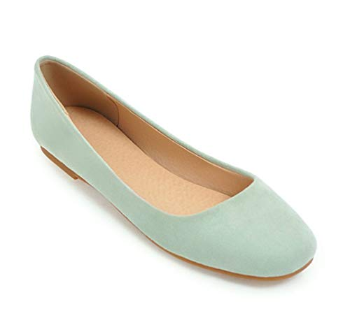 SERAPH 55-245 Damen Wildleder Flach Pumps Damen Karree Ballett Schuhe Dolly Schuhe,Green,EU40 Schuhe Dolly