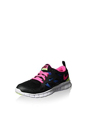 Nike Free Run 2 (gs), Running Entrainement Fille Noir / Rose / Bleu / Vert (Noir / Rose Pow-Photo Blue-Volt)