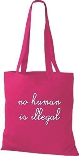 Sacchetto Di Tela Shirtinstyle Borsa Di Cotone Nessun Essere Umano È Illegale, Nessun Essere Umano È Illegale, Colore Royal Pink