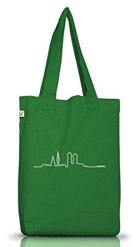 Shirtstreet24, Skyline Munich, München Wiesn Jutebeutel Stoff Tasche Earth Positive (ONE SIZE) Moss Green