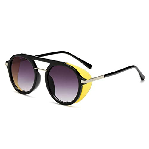 Retro Steampunk Style Sonnenbrille Unisex Round HD Lens UV-Schutzbrille zum Fahren Camping Freizeit