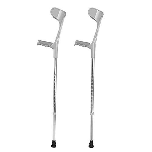 *WTTFF* Ellbogen-Krücke, Unterarm-Krücken, 10 Knoten höhenverstellbar von 70-92,5 cm, Silber,2 -