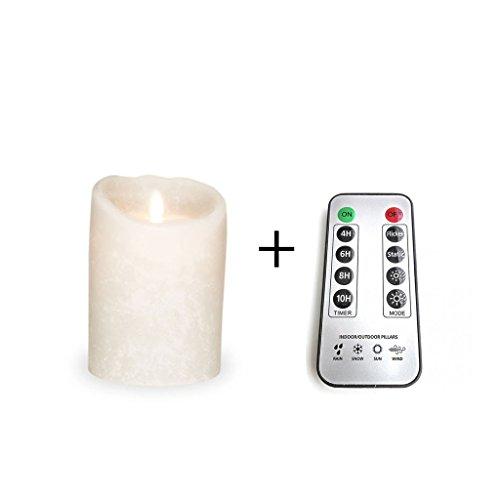 Sompex - Vela LED (8 x 12,5 cm, con mando a distancia), diseño clásico, color blanco esmerilado Incluye mando a distancia.