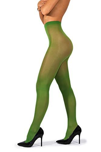 crofaser-Strumpfhose - Unsichtbar verstärkte, blickdichte Strumpfhose 40 DEN [Made In Italy] Clover Green Klee Grün 4 - Large ()
