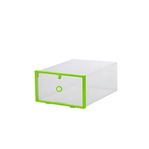 Kunststoff-schubladen Heavy Duty (Transparent stapelbar Schuh Aufbewahrungsboxen, Kunststoff Faltbare Schuh Boxen Aufbewahrung Organizer Schubladen Home storage-5Pack grün)