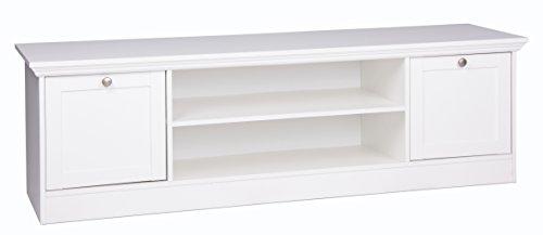 Landhaus TV-Board (B/H/T: 160 x 48 x 45 cm) weiß, Möbelgriffe antik