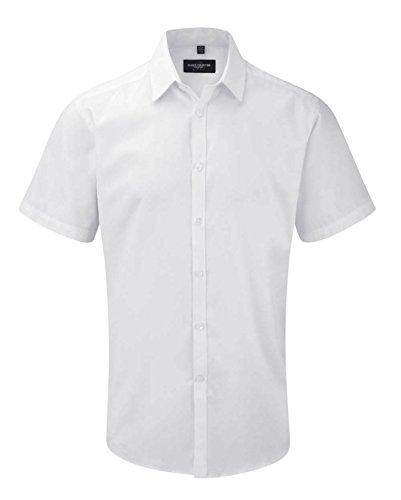 Russell Collection Short Sleeve Herringbone Shirt White