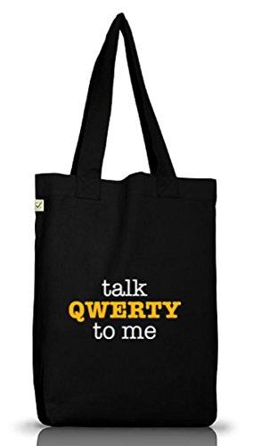 Shirtstreet24, Talk QWERTY to me, Jutebeutel Stoff Tasche Earth Positive (ONE SIZE) Black