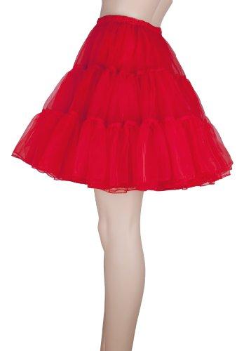 "Flora 50s Rock n Roll Hoopless Short Skirt/Fancy Tutu Petticoat,18"" Length (EU 42-50 (L-XXL), rot)"