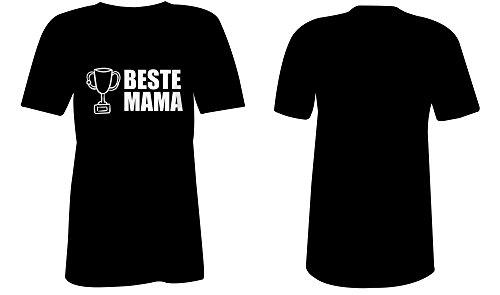 Beste Mama ★ V-Neck T-Shirt Frauen-Damen ★ hochwertig bedruckt mit lustigem Spruch ★ Die perfekte Geschenk-Idee (01) schwarz