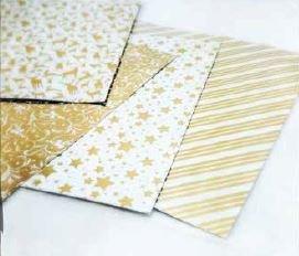 Faltpapier Gold/weiß 15x15cm goldfoliendruck 32 Blatt 337077 Origami Bascetta Stern