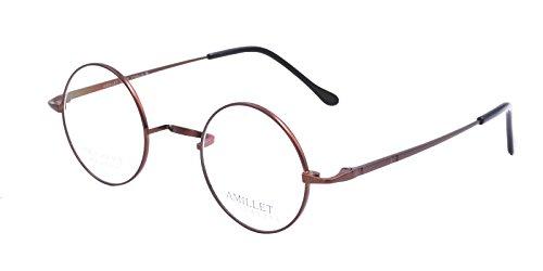 Amillet 42mm Retro Runde Titan Brillen Rahmen, für Männer und Frauen, nur 12g,Braun