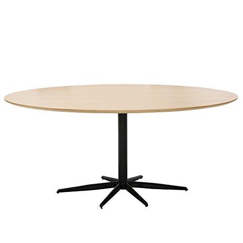 Stylischer Esstisch SIGNUM Eiche schwarz 170cm oval Tisch Holztisch Konferenztisch