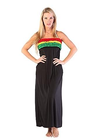 Ingear Long Ruffle Smocked Bandeau Dress (Medium, Rasta)
