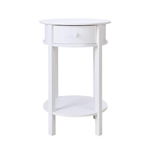 ZZHF La Table de Nuit Table d'appoint, avec tiroir, Table d'appoint, Table de Chevet à 2 Couches, Petite Table Ronde en Bois Massif, Table Basse de Loisir Balcon, Blanc Table d'angle