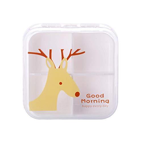 Juanya 4 emplacements Transparent mignon Dessin animé Mini Pill Boîte de rangement portable vide boite plastique Box 6.5 * 6.5 cm