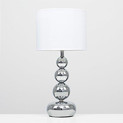 MiniSun - Lámpara de mesa táctil y moderna, con base de columna de esferas - cromada y pantalla blanca estilo seda