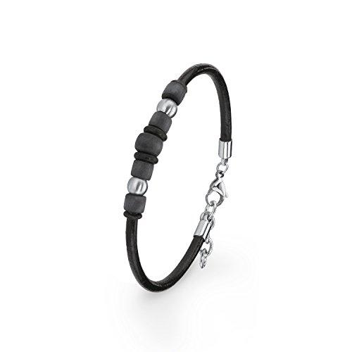 s.Oliver Kinder-Armband 18+2 cm Carbon Jungen Edelstahl Leder 20 cm 2015029