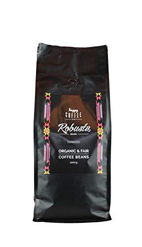 HAPPY COFFEE Bio Espressobohnen 1KG [ROBUSTA] nussig I Frische fair-trade Kaffeebohnen direkt aus Mexiko I Arabica Kaffee ganze Bohnen I Ideal für Vollautomat und Siebträger