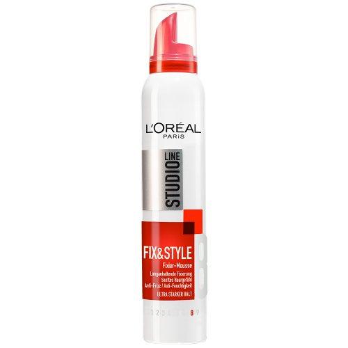 L'Oréal Paris Studio Line Haarschaum Fix & Style Fixiermousse / Haar-Mousse mit ultra starkem Halt, 1 x 200 ml