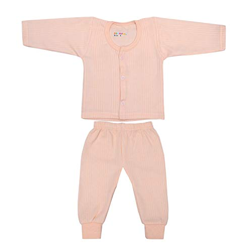 Kuchipoo Baby Boy's and Baby Girl's Front Open Thermal (Pink; Blue; Peach; 6-12 Months) - Pack of 3