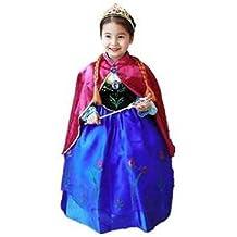 Frozen Vestido Niñas Disfraz ANNA ELSA (120 (4-5 años))