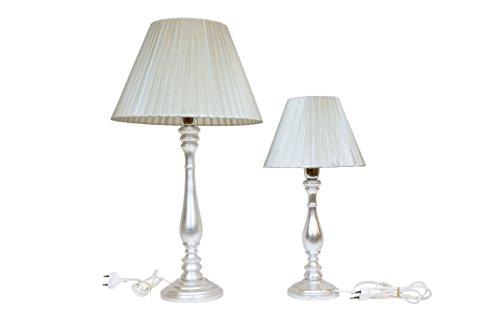 Set lume Grand + Petit lampe de table Abat-jour en bois argent avec abat-jour argent en organza Plisse 'Made in italy hauteur 60 44 cm
